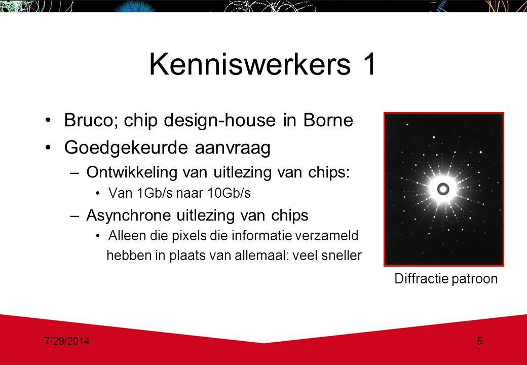 7/29/20145 Kenniswerkers 1 Bruco; chip design-house in Borne Goedgekeurde aanvraag –Ontwikkeling van uitlezing van chips: Van 1Gb/s naar 10Gb/s –Asynchrone uitlezing van chips Alleen die pixels die informatie verzameld hebben in plaats van allemaal: veel sneller Diffractie patroon