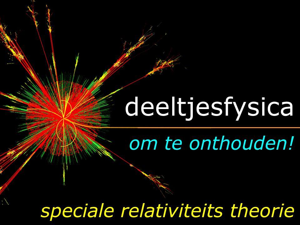deeltjesfysica om te onthouden! speciale relativiteits theorie