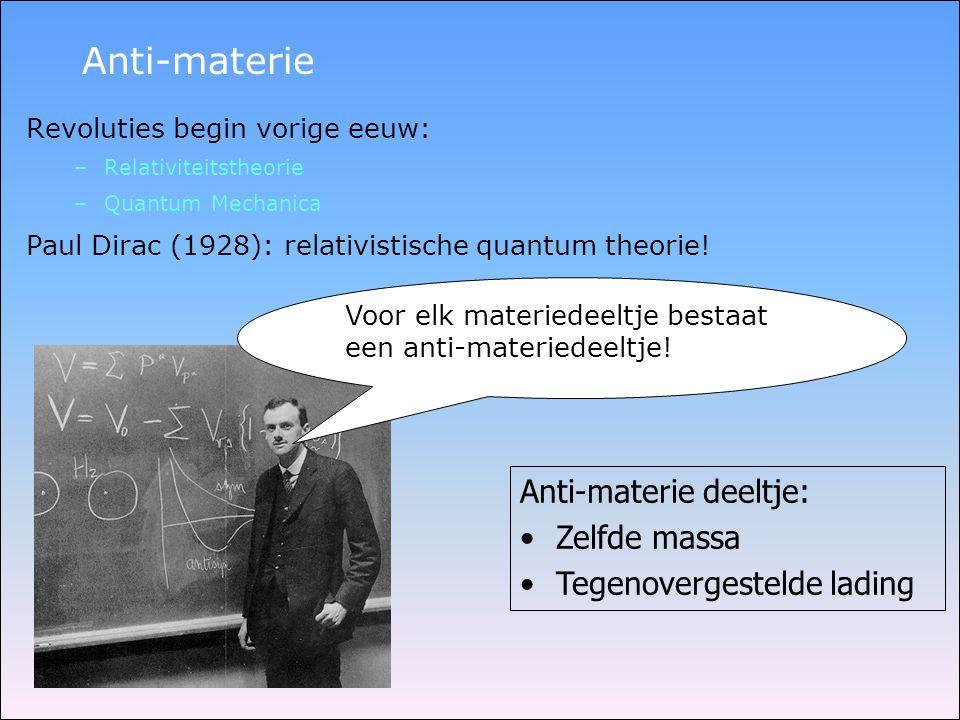 Anti-materie Revoluties begin vorige eeuw: –Relativiteitstheorie –Quantum Mechanica Paul Dirac (1928): relativistische quantum theorie! Voor elk mater