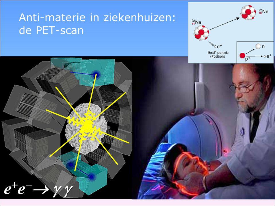 Anti-materie in ziekenhuizen: de PET-scan e+e  e+e  e+e  e+e  
