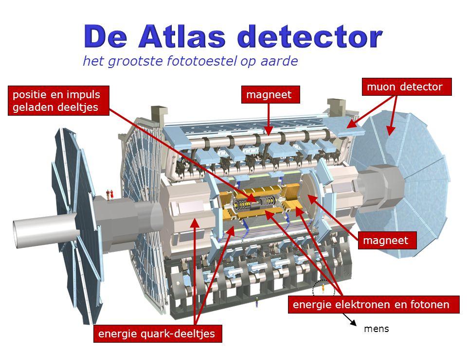 mens het grootste fototoestel op aarde energie elektronen en fotonen energie quark-deeltjes positie en impuls geladen deeltjes magneet muon detector m