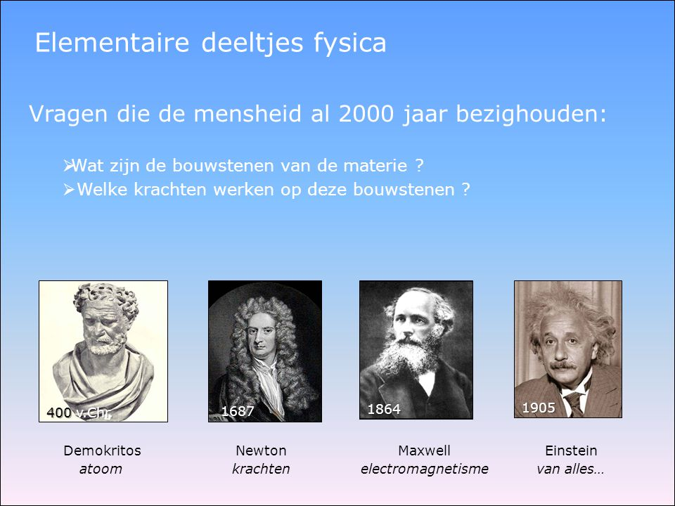 Elementaire deeltjes fysica Vragen die de mensheid al 2000 jaar bezighouden:  Wat zijn de bouwstenen van de materie ?  Welke krachten werken op deze