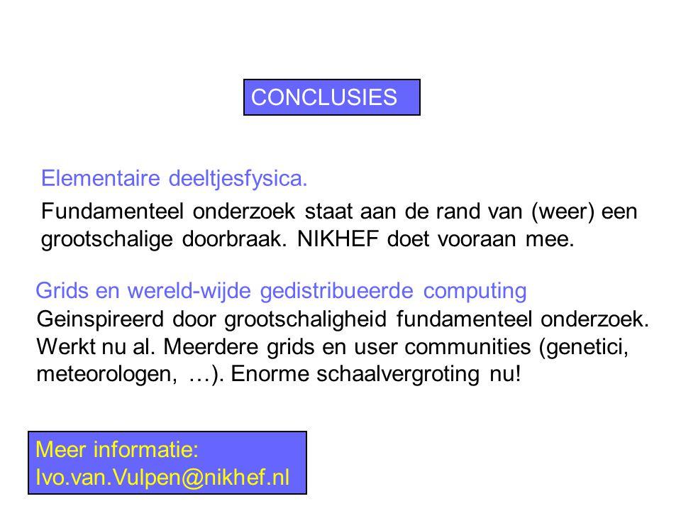 CONCLUSIES Grids en wereld-wijde gedistribueerde computing Meer informatie: Ivo.van.Vulpen@nikhef.nl Elementaire deeltjesfysica.