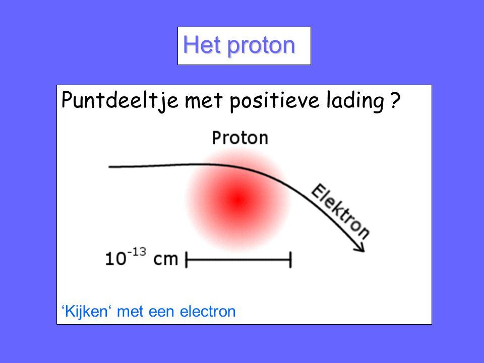 Het proton Puntdeeltje met positieve lading ? 'Kijken' met een electron