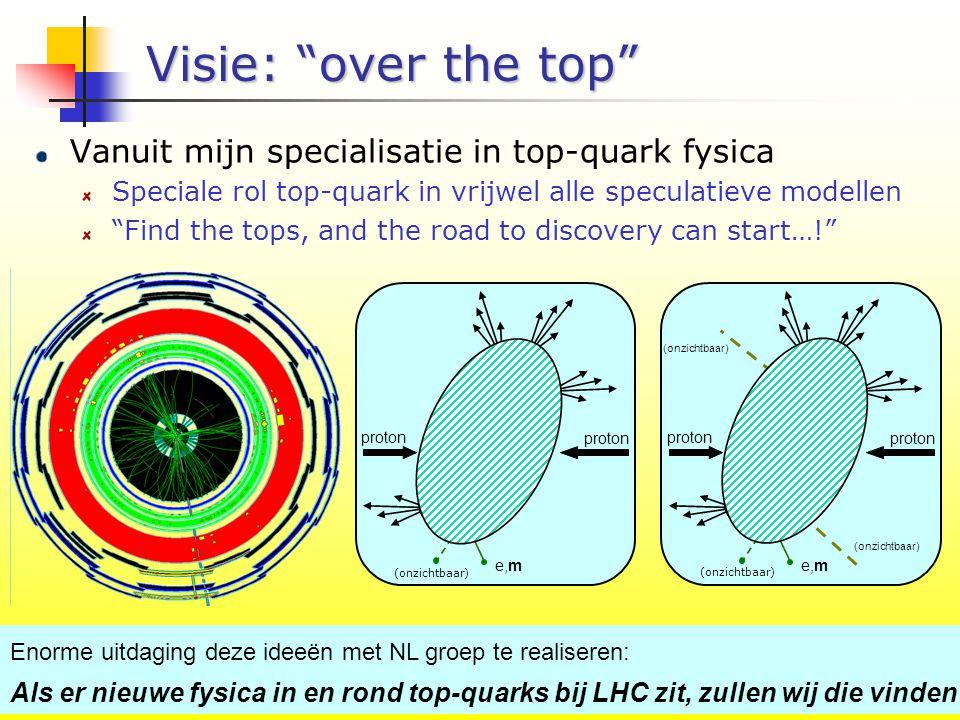 NWO 20 okt - P10/12 (onzichtbaar) Visie: over the top proton top e,m (onzichtbaar) proton stop e,m (onzichtbaar) dark matter Enorme uitdaging deze ideeën met NL groep te realiseren: Als er nieuwe fysica in en rond top-quarks bij LHC zit, zullen wij die vinden Vanuit mijn specialisatie in top-quark fysica Speciale rol top-quark in vrijwel alle speculatieve modellen Find the tops, and the road to discovery can start…!