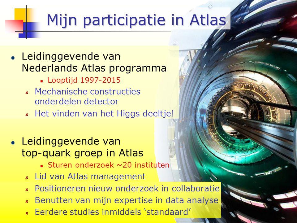 NWO 20 okt - P9/12 Mijn participatie in Atlas Leidinggevende van Nederlands Atlas programma Looptijd 1997-2015 Mechanische constructies onderdelen detector Het vinden van het Higgs deeltje.
