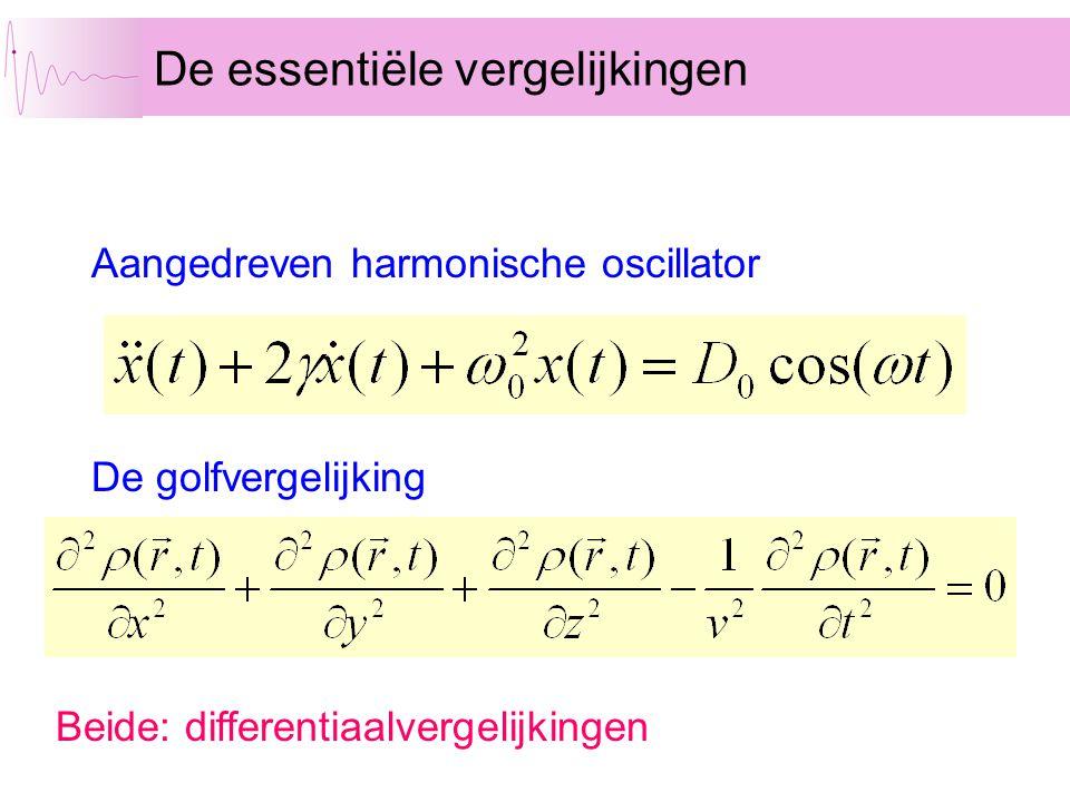 De essentiële vergelijkingen Aangedreven harmonische oscillator De golfvergelijking Beide: differentiaalvergelijkingen