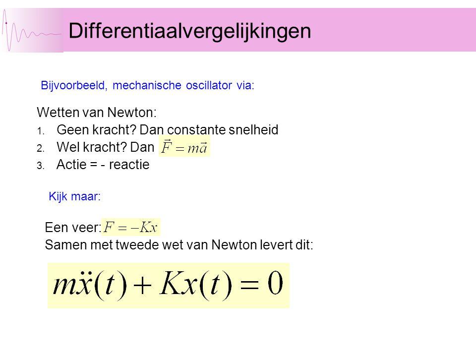 Wetten van Newton: 1. Geen kracht? Dan constante snelheid 2. Wel kracht? Dan 3. Actie = - reactie Differentiaalvergelijkingen Bijvoorbeeld, mechanisch