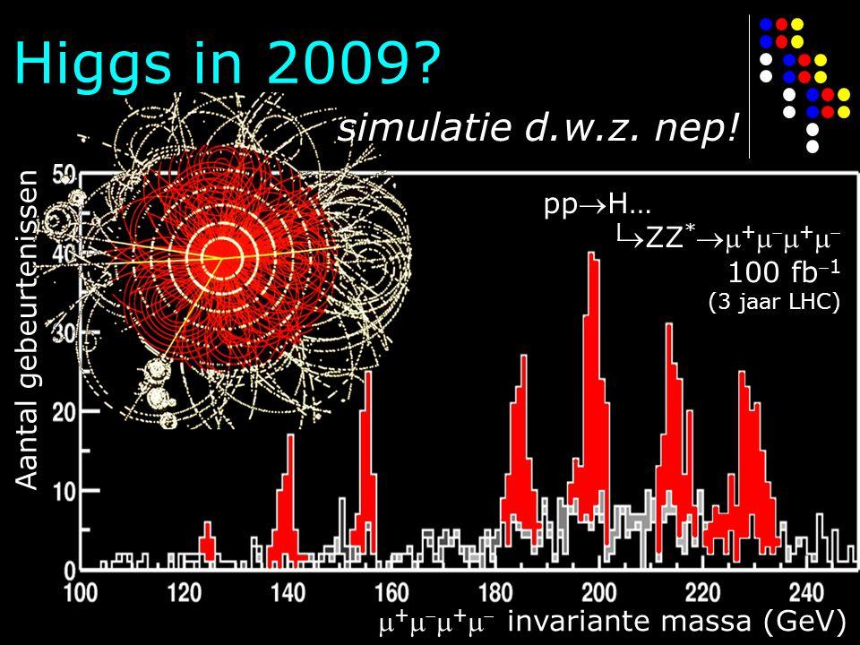 Higgs in 2009? ppH… ZZ *  +    +   100 fb 1 (3 jaar LHC)  +    +   invariante massa (GeV) Aantal gebeurtenissen  simulatie d.w.z. nep