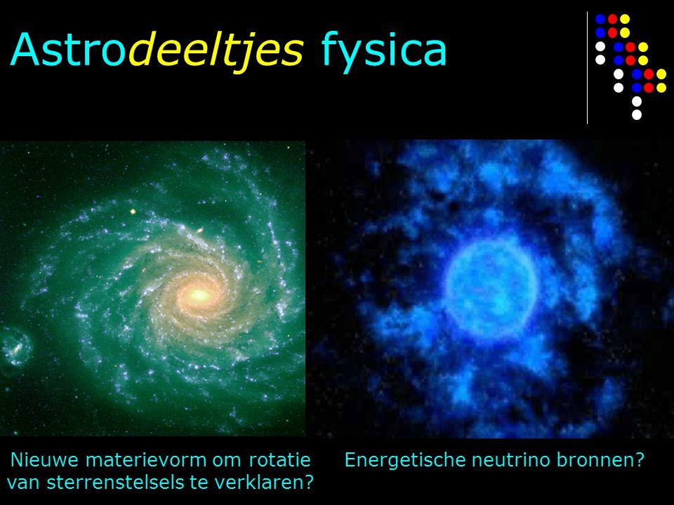 Astrodeeltjes fysica Nieuwe materievorm om rotatie van sterrenstelsels te verklaren? Energetische neutrino bronnen?