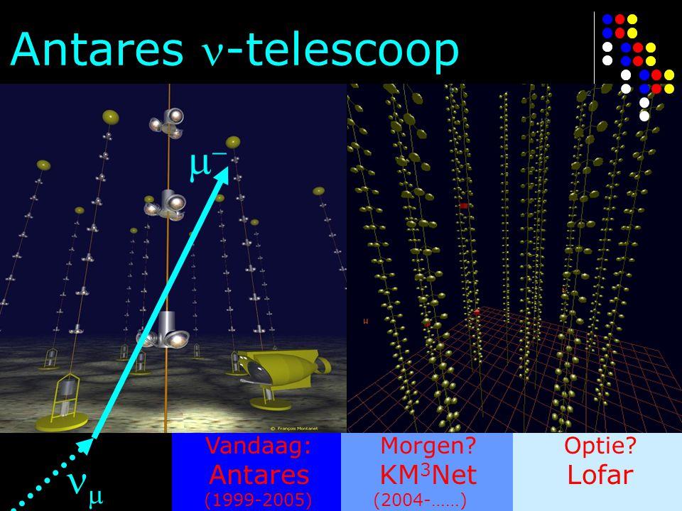 Vandaag: Antares (1999-2005) Morgen? KM 3 Net (2004-……) Optie? Lofar Antares -telescoop  