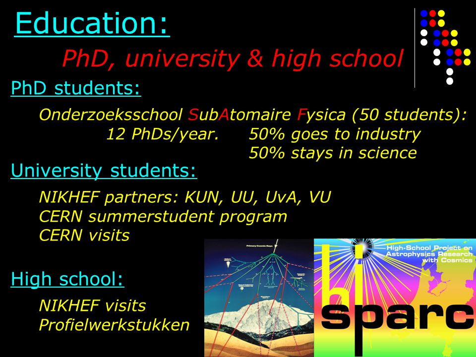 Education: PhD, university & high school PhD students: Onderzoeksschool SubAtomaire Fysica (50 students): 12 PhDs/year. 50% goes to industry 50% stays
