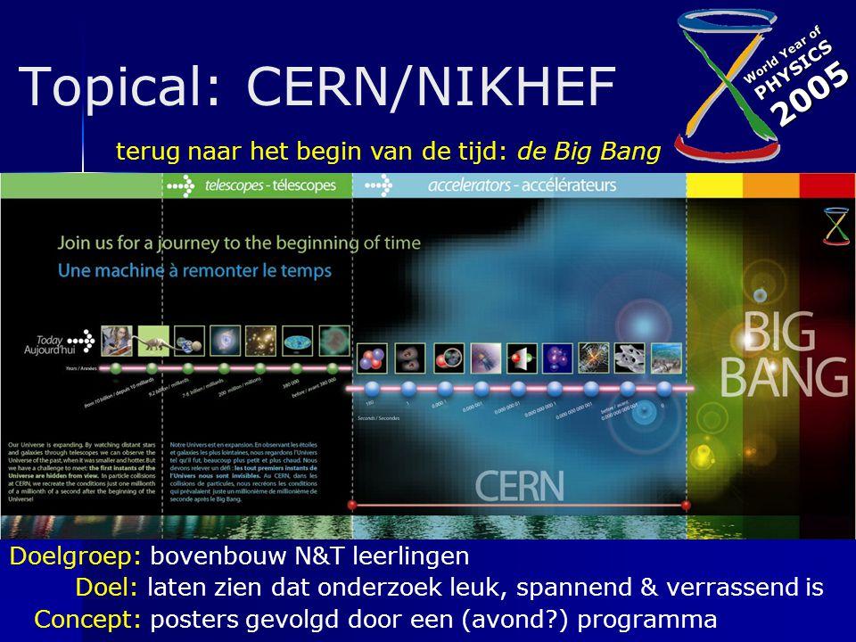 World Year of PHYSICS2005 Topical: CERN/NIKHEF Doelgroep: bovenbouw N&T leerlingen Doel: laten zien dat onderzoek leuk, spannend & verrassend is Concept: posters gevolgd door een (avond?) programma terug naar het begin van de tijd: de Big Bang