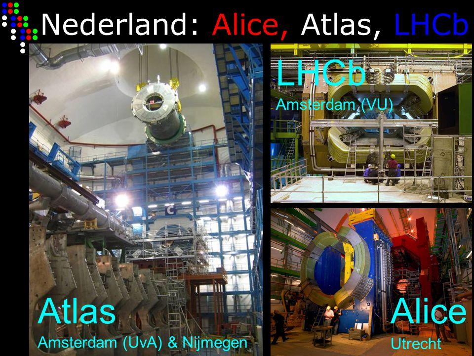 Nederland: Alice, Atlas, LHCb AtlasAlice LHCb Amsterdam (UvA) & Nijmegen Utrecht Amsterdam (VU)