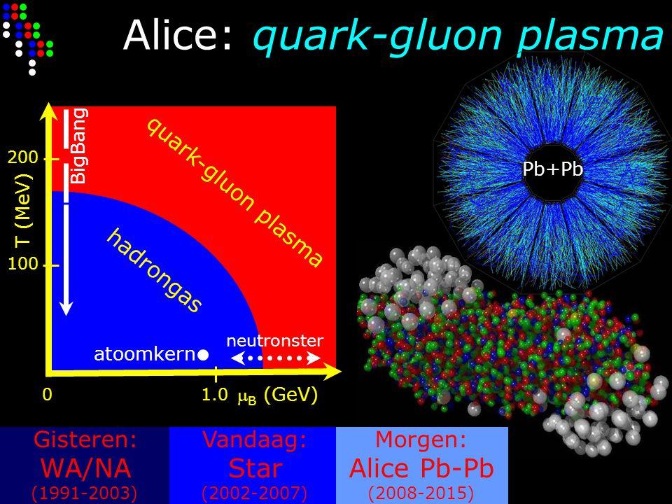 Alice: quark-gluon plasma Gisteren: WA/NA (1991-2003) Vandaag: Star (2002-2007) Morgen: Alice Pb-Pb (2008-2015)  B (GeV) 01.0 T (MeV) 100 200 atoomke