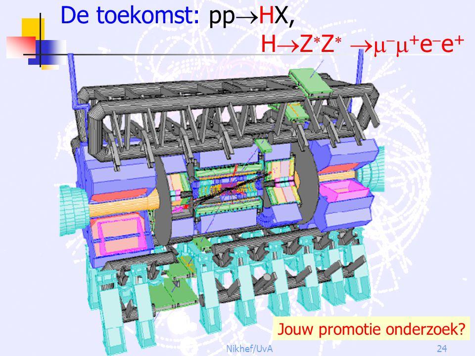 Nikhef/UvA24 De toekomst: pp  HX, H  Z  Z     + e  e + Jouw promotie onderzoek?