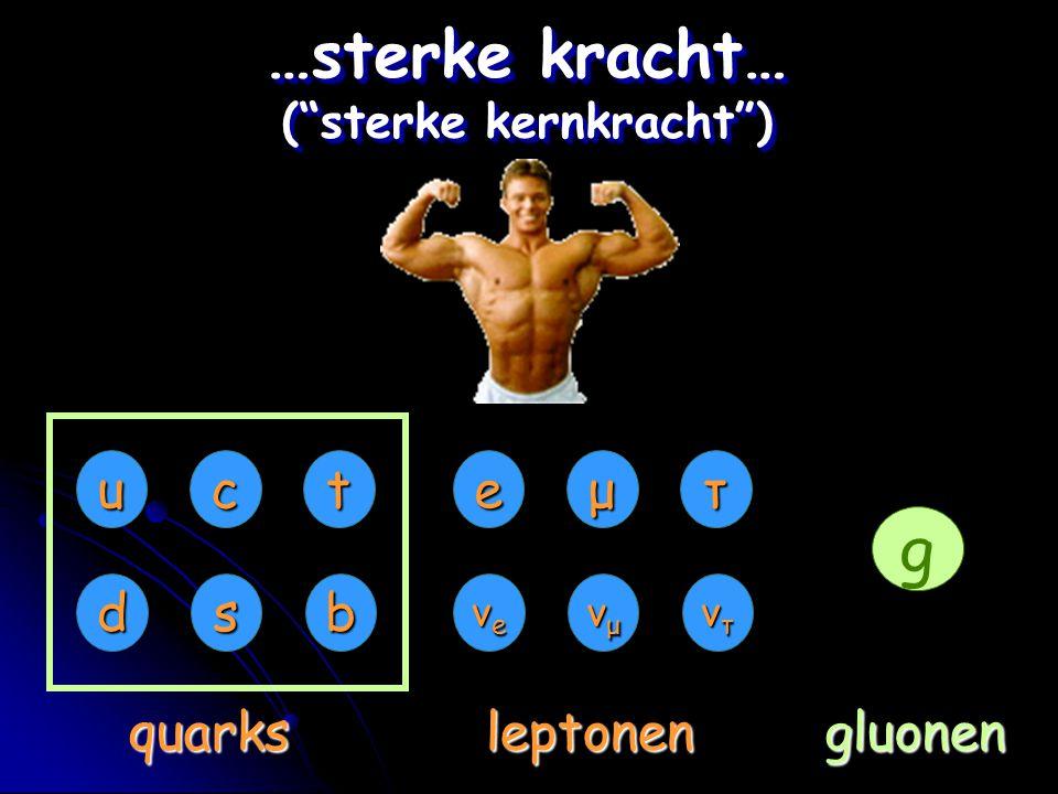 """eμτ νeνeνeνe νμνμνμνμ ντντντντ uct dsb quarksleptonen …sterke kracht… (""""sterke kernkracht"""") g gluonen"""