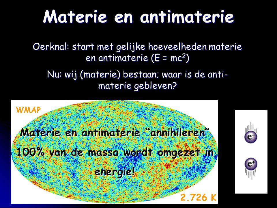 Oerknal: start met gelijke hoeveelheden materie en antimaterie (E = mc 2 ) Nu: wij (materie) bestaan; waar is de anti- materie gebleven? Materie en an