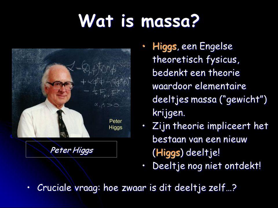 """Wat is massa? Peter Higgs Higgs, een Engelse theoretisch fysicus, bedenkt een theorie waardoor elementaire deeltjes massa (""""gewicht"""") krijgen.Higgs, e"""