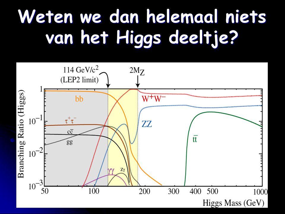Weten we dan helemaal niets van het Higgs deeltje?