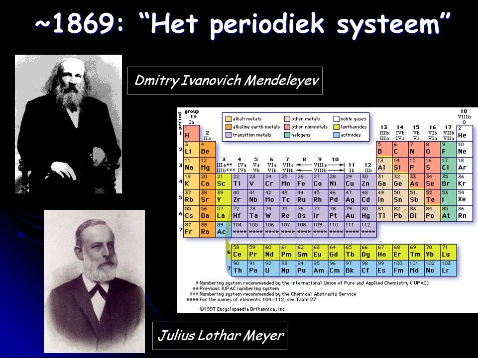 "~1869: ""Het periodiek systeem"" Dmitry Ivanovich Mendeleyev Julius Lothar Meyer"