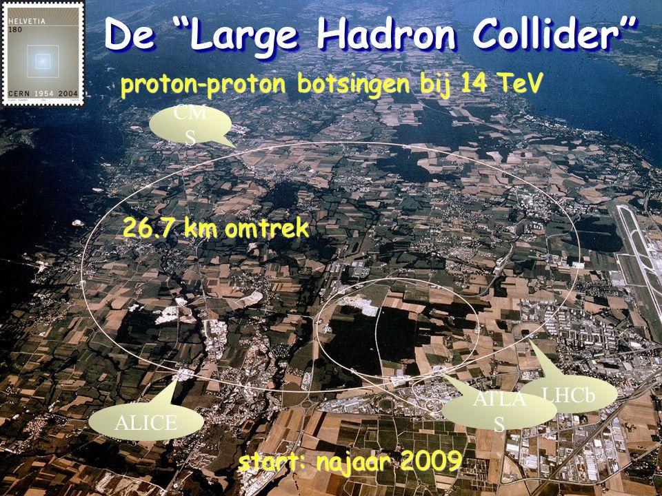 "De ""Large Hadron Collider"" LHCb CM S ALICE ATLA S proton-proton botsingen bij 14 TeV 26.7 km omtrek start: najaar 2009"