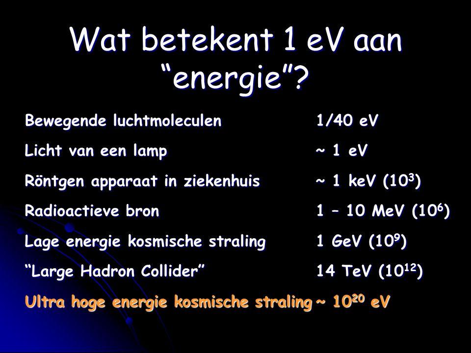 Bewegende luchtmoleculen1/40 eV Licht van een lamp~ 1 eV Röntgen apparaat in ziekenhuis~ 1 keV (10 3 ) Radioactieve bron1 – 10 MeV (10 6 ) Lage energi