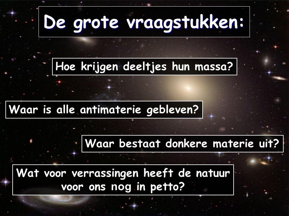 De grote vraagstukken: Hoe krijgen deeltjes hun massa? Waar is alle antimaterie gebleven? Waar bestaat donkere materie uit? Wat voor verrassingen heef