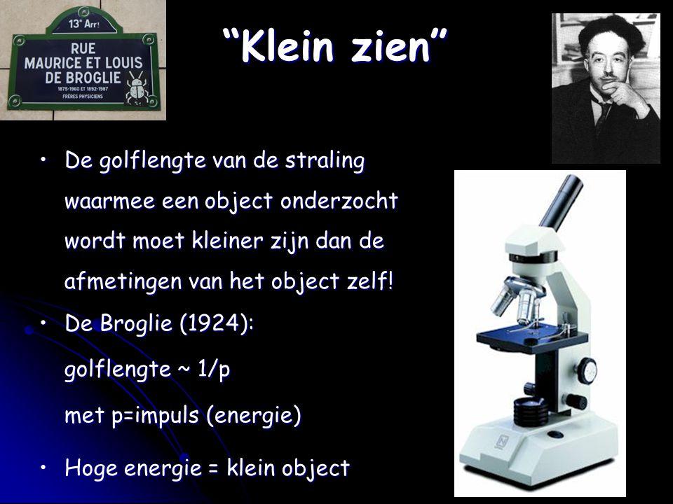 """""""Klein zien"""" De golflengte van de straling waarmee een object onderzocht wordt moet kleiner zijn dan de afmetingen van het object zelf!De golflengte v"""