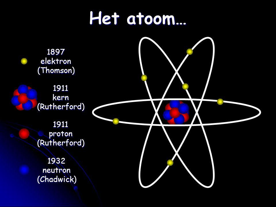 Het atoom… 1897elektron(Thomson) 1911kern(Rutherford) 1911proton(Rutherford) 1932neutron(Chadwick)