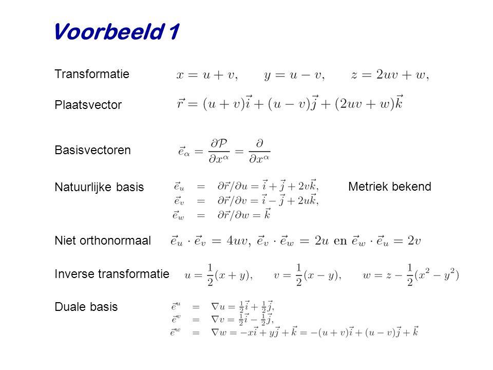 Voorbeeld 1 Plaatsvector Natuurlijke basis Niet orthonormaal Basisvectoren Metriek bekend Inverse transformatie Duale basis Transformatie