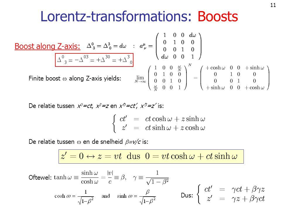 11 Lorentz-transformations: Boosts De relatie tussen x 0 =ct, x 3 =z en x' 0 =ct', x' 3 =z' is: De relatie tussen  en de snelheid  v/c is: Oftewel: Dus: Boost along Z-axis: Finite boost  along Z-axis yields: