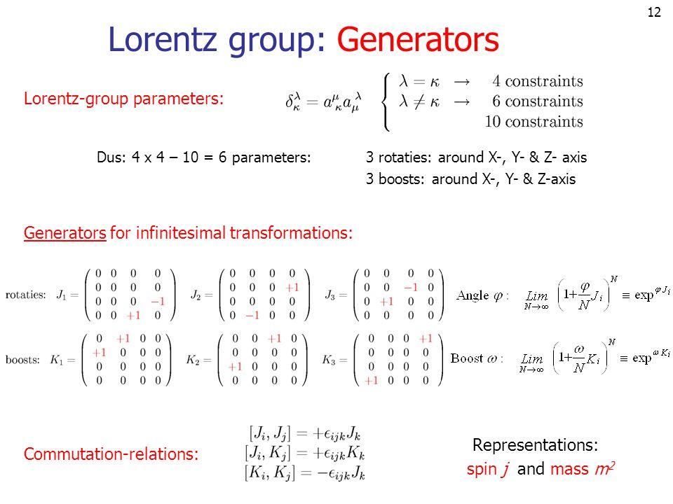 12 Lorentz group: Generators Lorentz-group parameters: Dus: 4 x 4 – 10 = 6 parameters: 3 rotaties: around X-, Y- & Z- axis 3 boosts: around X-, Y- & Z-axis Commutation-relations: Representations: spin j and mass m 2 Generators for infinitesimal transformations: