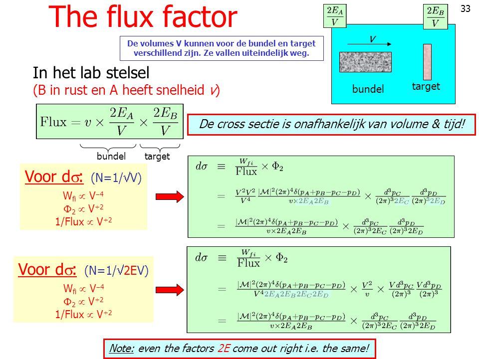33 The flux factor v bundel target In het lab stelsel (B in rust en A heeft snelheid v) bundeltarget De volumes V kunnen voor de bundel en target verschillend zijn.