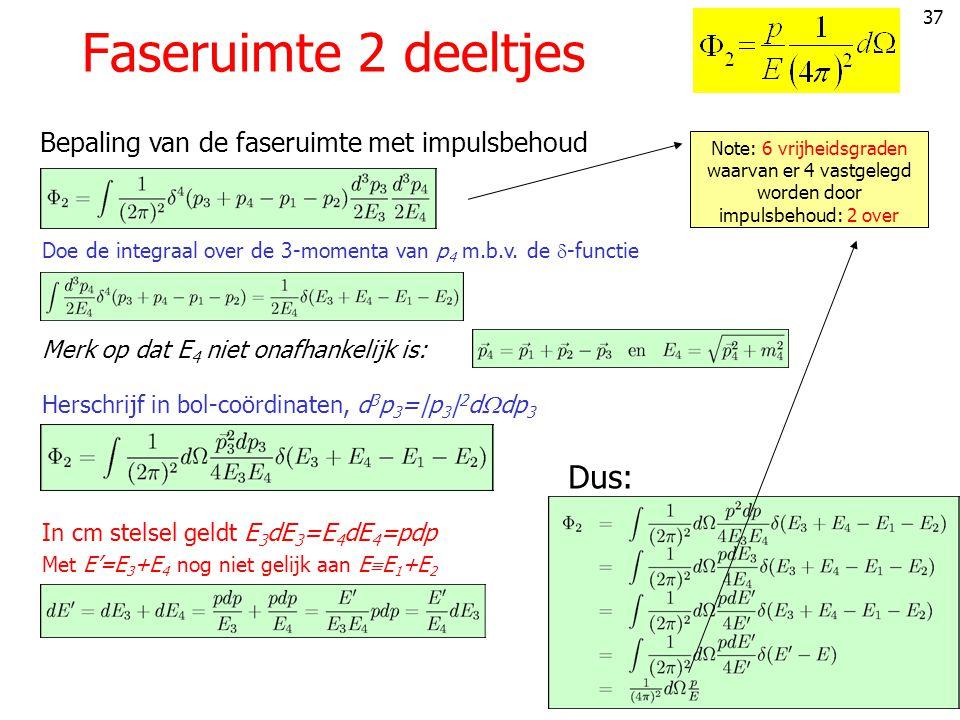 37 Faseruimte 2 deeltjes Doe de integraal over de 3-momenta van p 4 m.b.v.