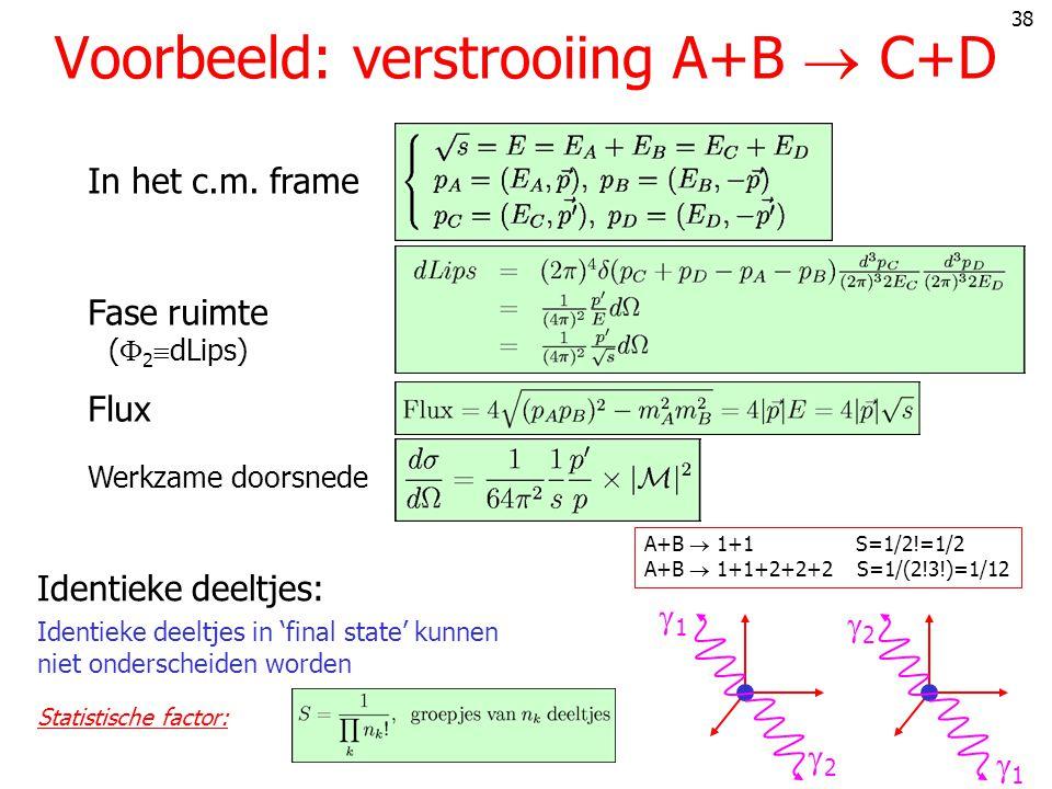 38 Voorbeeld: verstrooiing A+B  C+D In het c.m.