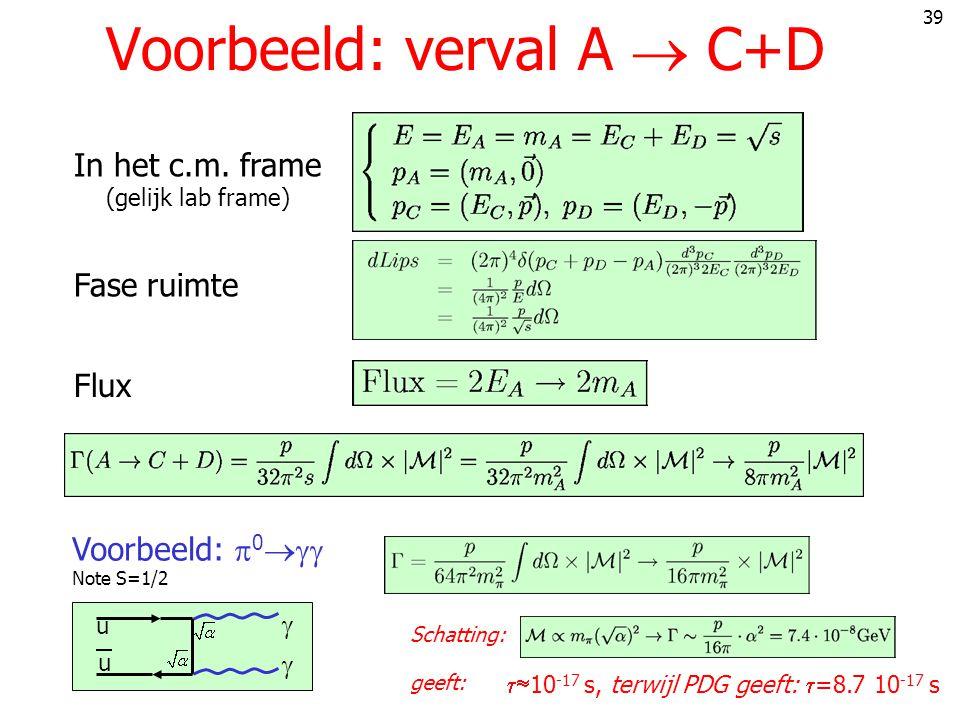 39 Voorbeeld: verval A  C+D In het c.m.