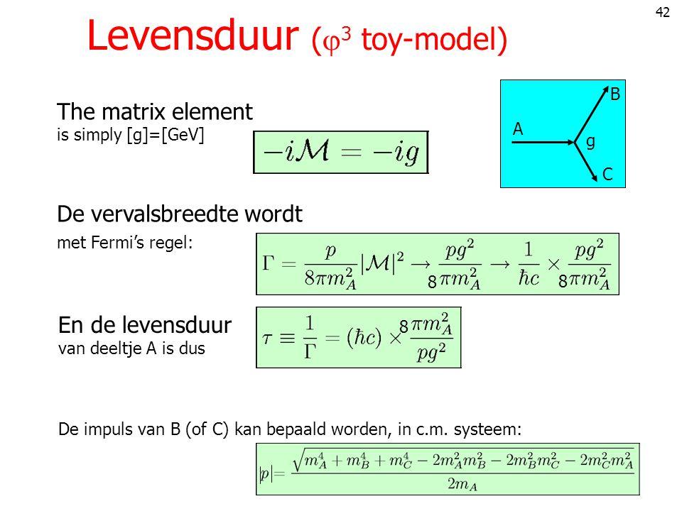 42 Levensduur (  3 toy-model) A B C g The matrix element is simply [g]=[GeV] De impuls van B (of C) kan bepaald worden, in c.m.
