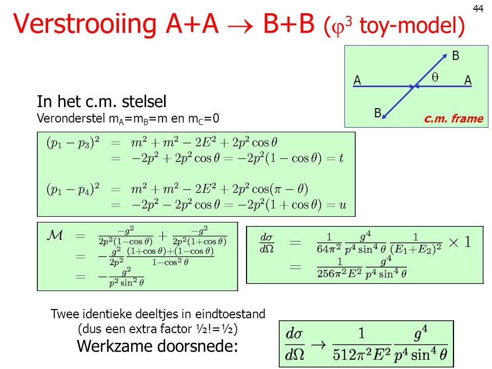 44 Verstrooiing A+A  B+B (  3 toy-model)  c.m.frame AA B B In het c.m.