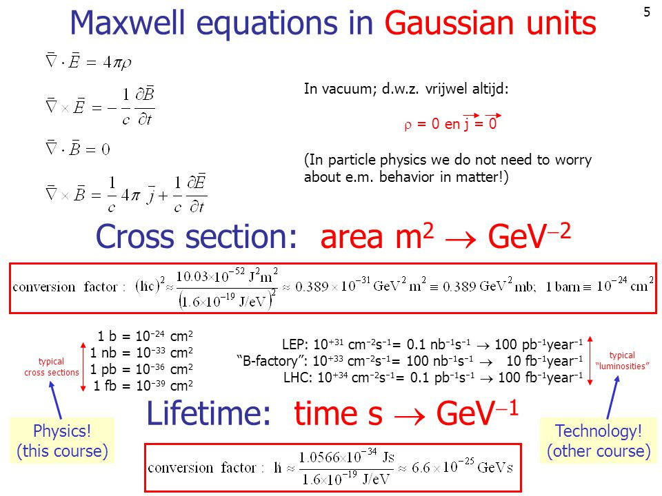 5 Maxwell equations in Gaussian units In vacuum; d.w.z. vrijwel altijd:  = 0 en j = 0 (In particle physics we do not need to worry about e.m. behavio