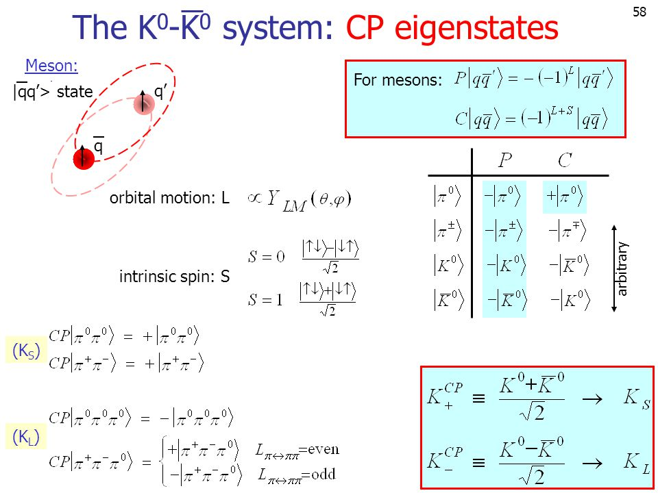 58 arbitrary The K 0 -K 0 system: CP eigenstates For mesons: orbital motion: L intrinsic spin: S (K S ) (K L ) q q' Meson: |qq'> state