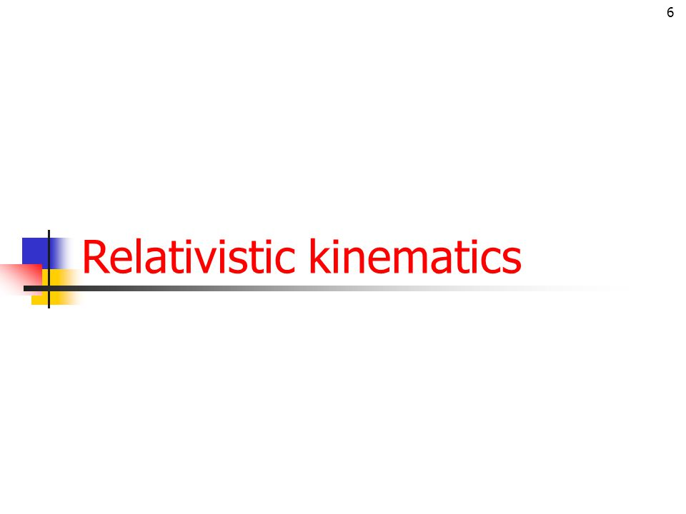 6 Relativistic kinematics
