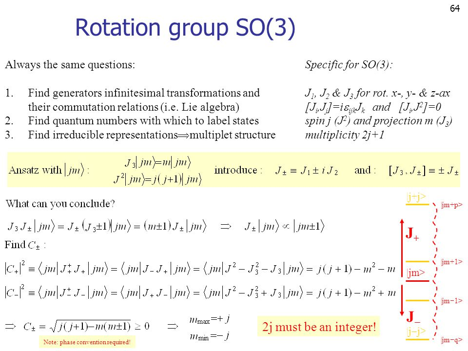 64 Rotation group SO(3) Always the same questions: 1.Find generators infinitesimal transformations and their commutation relations (i.e. Lie algebra)