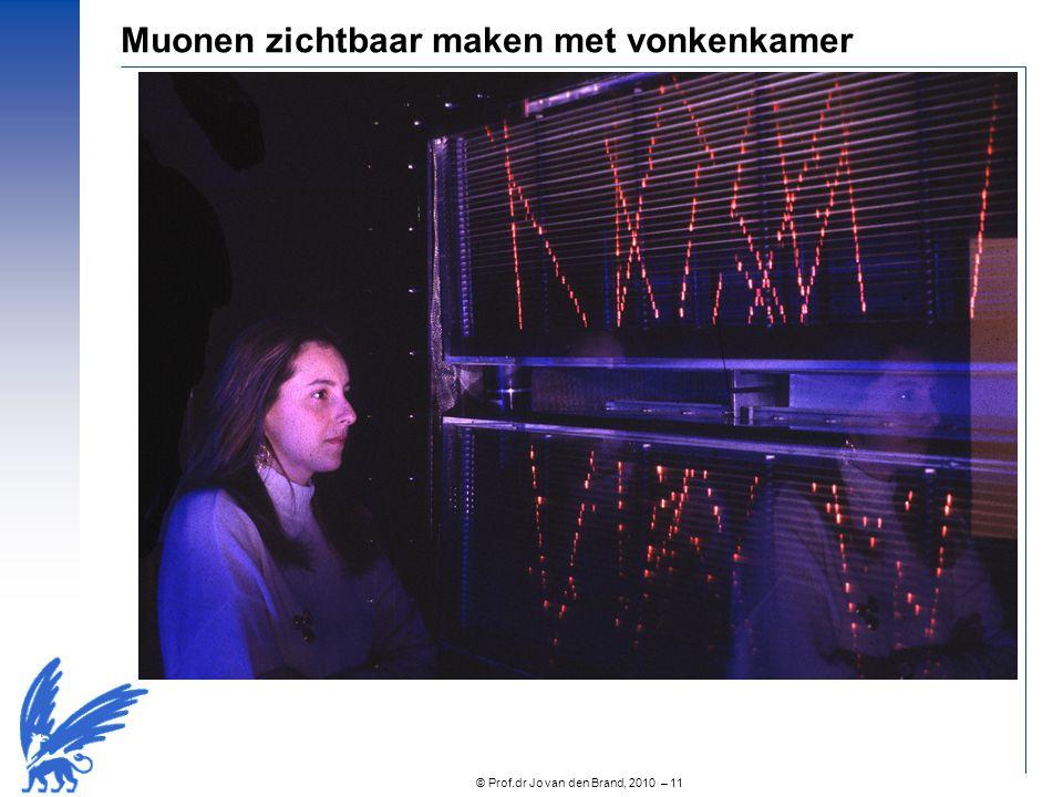 © Prof.dr Jo van den Brand, 2010 – 12 Het muon Ontdekt in kosmische straling door Neddermeyer en Anderson (1936) Lijkt identiek aan het elektron, maar 200 keer zo massief Vervalt binnen 2.2  sec 'Who ordered that?' - I I Rabi