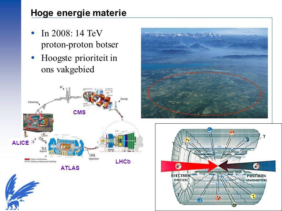 © Prof.dr Jo van den Brand, 2010 – 13 Hoge energie materie  In 2008: 14 TeV proton-proton botser  Hoogste prioriteit in ons vakgebied ATLAS ALICE CM
