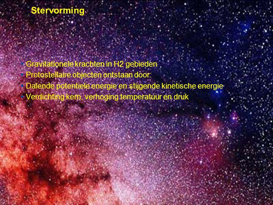 © Prof.dr Jo van den Brand, 2010 – 17 17 Stervorming  Gravitationele krachten in H2 gebieden  Protostellaire objecten ontstaan door:  Dalende poten