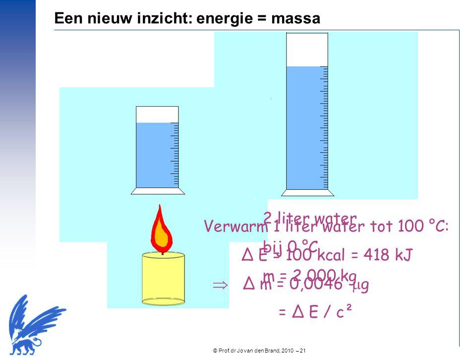 © Prof.dr Jo van den Brand, 2010 – 21 1 liter water bij 0 °C m = 1,000 kg Verwarm 1 liter water tot 100 °C: Δ E = 100 kcal = 418 kJ  Δ m = 0,0046  g