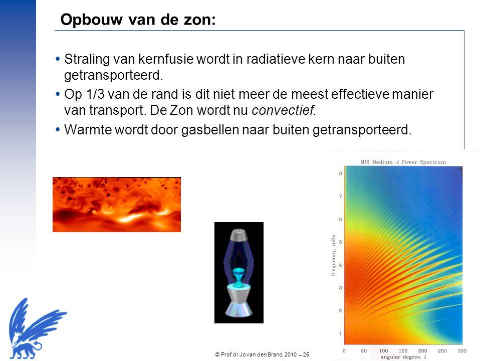 © Prof.dr Jo van den Brand, 2010 – 25 Opbouw van de zon:  Straling van kernfusie wordt in radiatieve kern naar buiten getransporteerd.  Op 1/3 van d