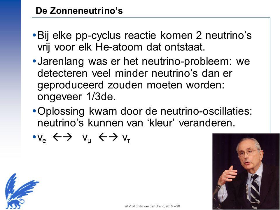 © Prof.dr Jo van den Brand, 2010 – 26 De Zonneneutrino's  Bij elke pp-cyclus reactie komen 2 neutrino's vrij voor elk He-atoom dat ontstaat.  Jarenl
