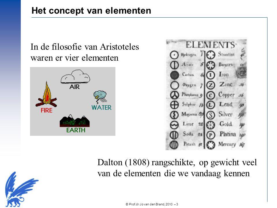 © Prof.dr Jo van den Brand, 2010 – 3 Het concept van elementen In de filosofie van Aristoteles waren er vier elementen Dalton (1808) rangschikte, op g
